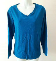 Faded Glory Blue Long Sleeve V-neck Tee Shirt Knit Top Plus Size XXL 100... - $9.90