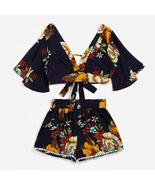 Casual Two Piece Set Women Botanical Print Summer V Collar Top Shorts Be... - $41.72