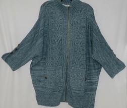 Simply Noelle Brand JCKT222Z Womens Misty Blue Zippered Sweater Jacket Size XXL image 1
