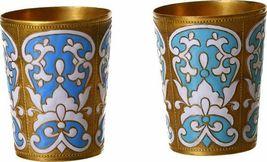 Vintage Brass Enamel 2 Small Vodka Liqueur Shot Cups Glasses Russia Signed
