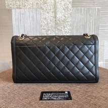 100% Authentic Chanel BLACK QUILTED LAMBSKIN LARGE FLAP BAG GHW image 2