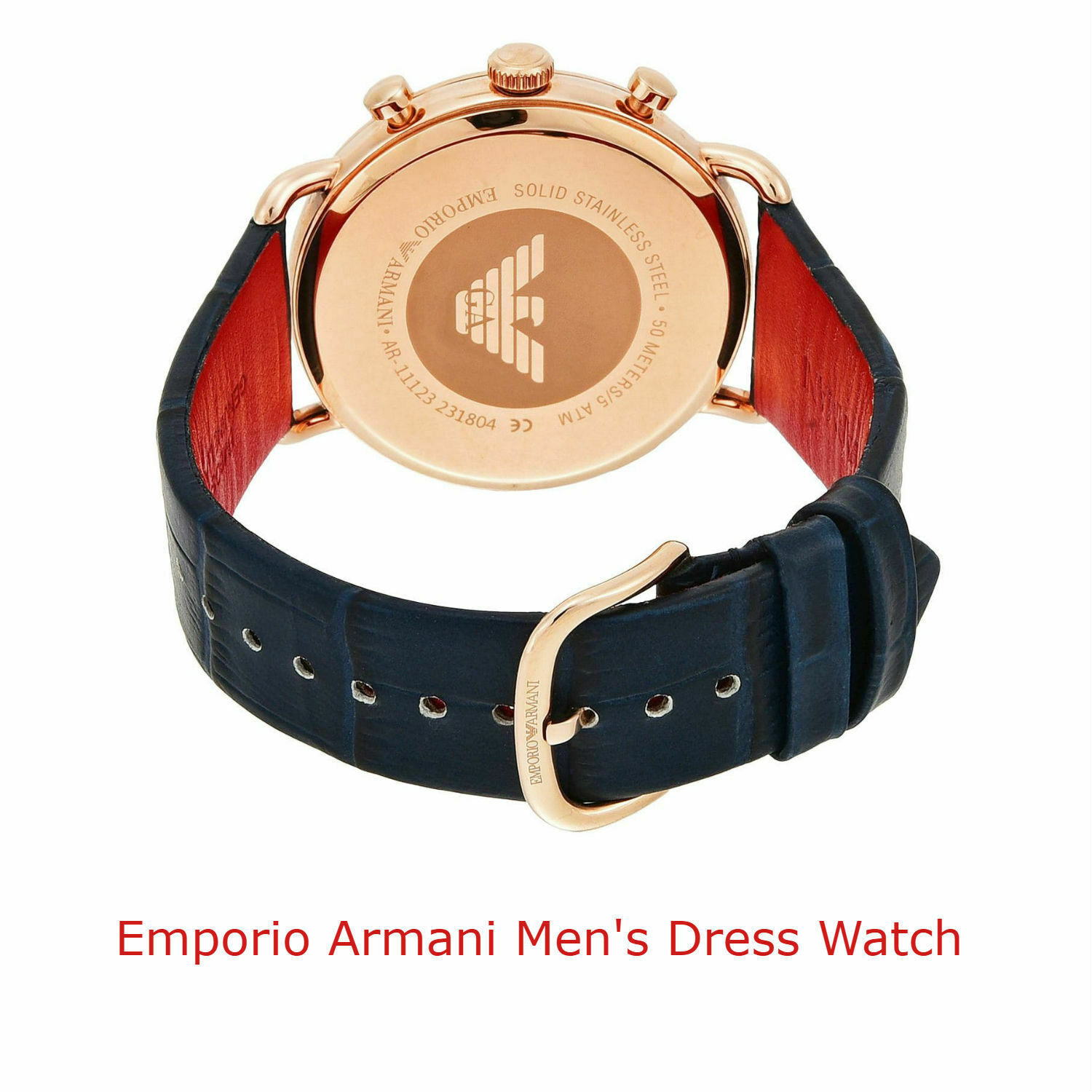 Emporio Armani Gold Case Stainless Steel Blue Leather Men's Watch AR11123