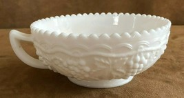 """Imperial Hobnail Milk Glass Scallop handled cup 5"""" rose bowl candy dish vintage - $21.29"""