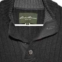 Eddie Bower Dark Grey 1/4 Button V-Neck Cotton Pullover Long Sleeve Sweater XL image 2