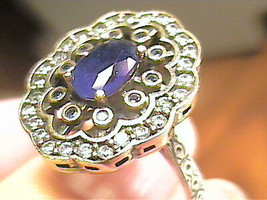 VINTAGE ANTIQUE blue royal sapphire SILVER RING 7 MEDIEVAL NATURAL STERL... - $49.14