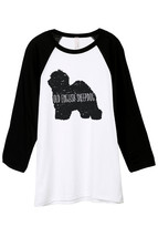 Thread Tank Old English Sheepdog Dog Silhouette Unisex 3/4 Sleeves Baseball Ragl - $24.99+