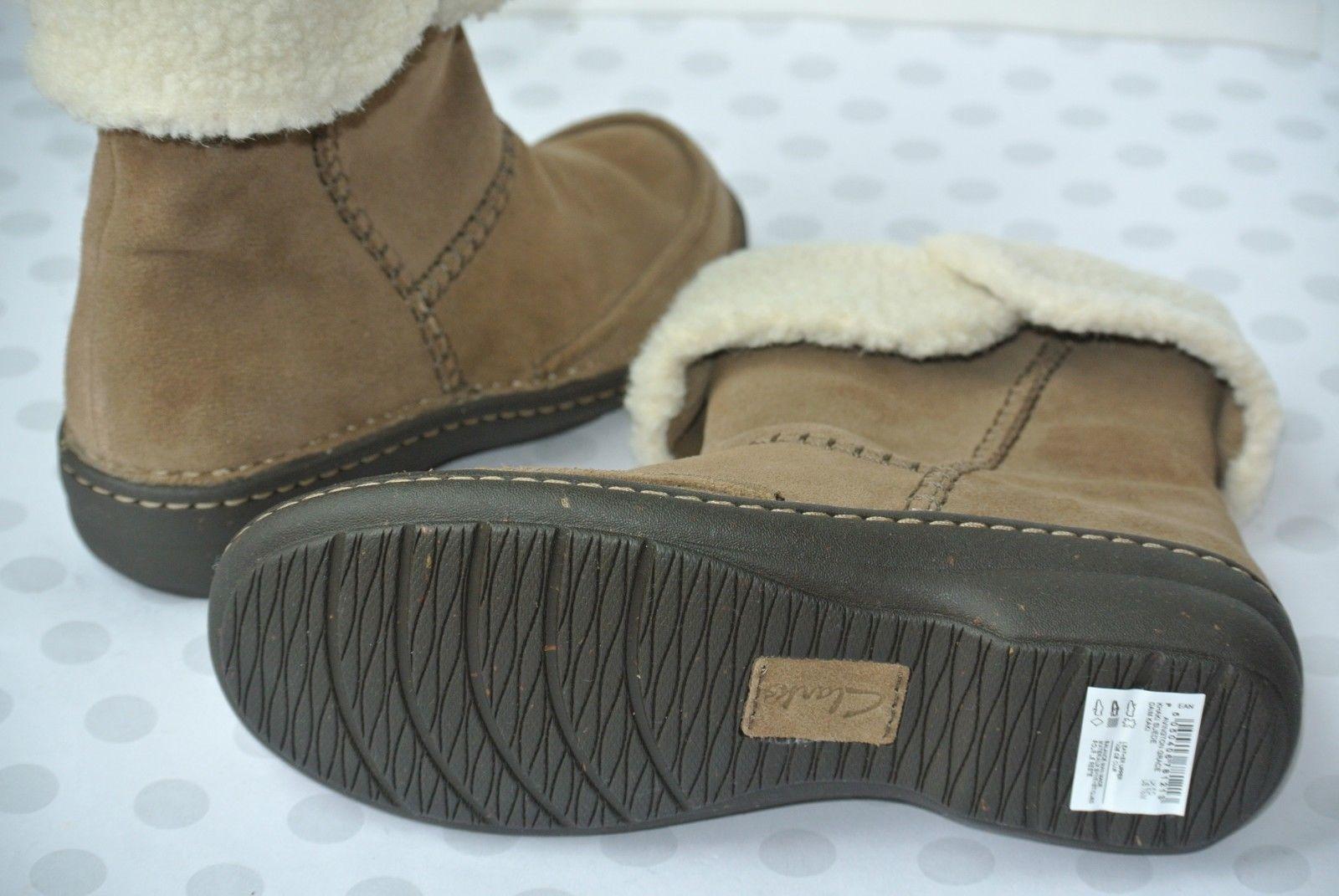 NEW Clarks Avington Grace Womens Sz 7.5 M Khaki Suede Leather Ankle Boots $150