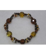 Glass Bead Stretch Bracelet Amber and Brown Color - $7.00