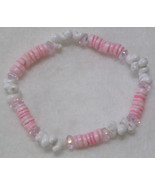 Shell Beaded Stretch Bracelet with Pink Accents - $2.00
