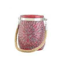Red Glass Flower Pillar or Votive Candle Holder with Rope Handle - $9.95