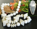Vintage double stepped pyramid bead necklace cream plastic thumb155 crop