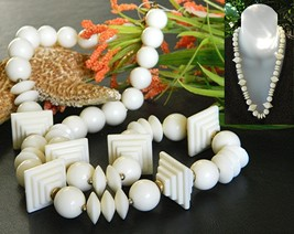 Vintage Double Stepped Pyramid Bead Necklace Cream Plastic - $34.95