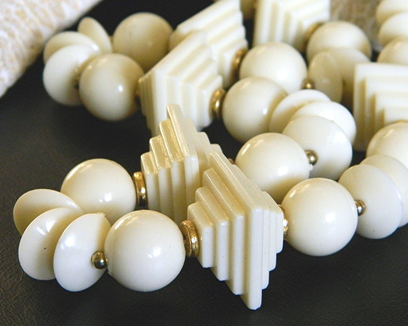 Vintage Double Stepped Pyramid Bead Necklace Cream Plastic