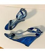 WHBM White house Black Market Women Sz 8 Wedge Sandal Strappy Heel Bling... - $46.46