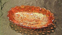 Vintage orange oval Carnival Glass with flower and diamond pattern AA19-CD0018 image 6