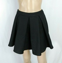 Forever 21 Black Thick Heavy Woven Box Pleat Fit & Flare Skater Mini Skirt S - $7.70