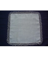Vintage - Handkerchief with tatted edge - $8.00