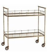 ANTIQUE BRASS & MIRROR BAR CART on Wheels, 2 Mirror Shelves, MID CENTURY... - $1,199.00