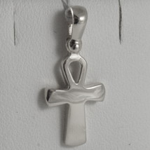 SOLID 18K WHITE GOLD CROSS, CROSS OF LIFE, ANKH, SHINY, 0.87 INCH MADE IN ITALY image 1