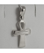 SOLID 18K WHITE GOLD CROSS, CROSS OF LIFE, ANKH, SHINY, 0.87 INCH MADE I... - £121.81 GBP