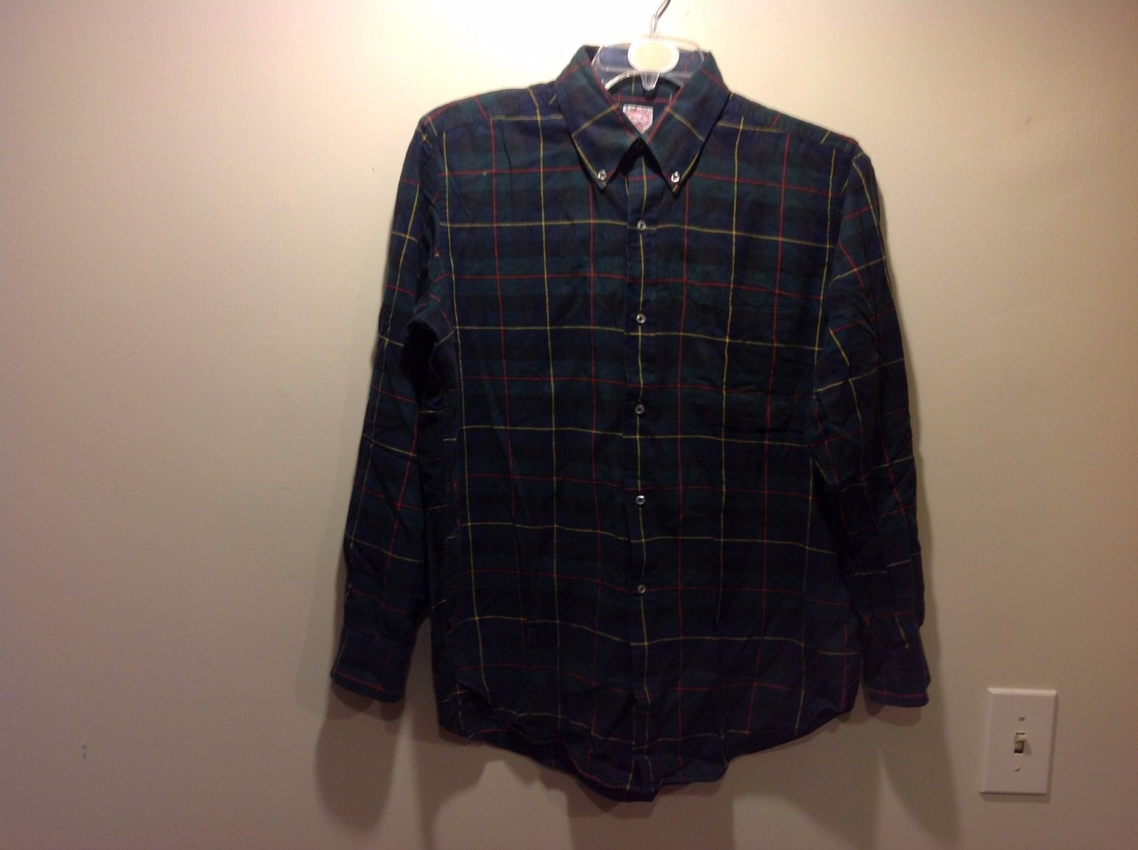 Flannel Forest Green Navy Blue Plaid Button Down w Yellow/Red Lines Sz 16.5