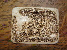 Porcelin small wall hanging, art nouveau, battle scene with bull, old, c... - $61.66