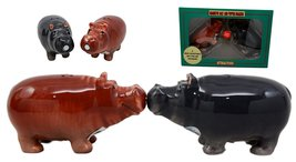 Atlantic Collectibles Nile River Hippo Salt & Pepper Shakers Ceramic Mag... - $12.99