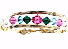 BANGLE BRACELET MULTI COLOR CRYSTALS GOLD FILL & STERLING SILVER  - $94.05