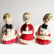 Vintage Porcelain Choir Christmas Carolers Singers Lace Ruffle Flocked L... - $19.99