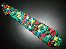 Ralph Marlin Neck Tie Frogs 1999 Brightly Colored Red Yellow Blue Frogs ... - $11.99