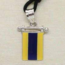 SOLID 925 STERLING SILVER PENDANT WITH NAUTICAL FLAG, LETTER D, ENAMEL, CHARM image 1