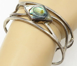 925 Sterling Silver - Vintage Abalone Shell Open Design Cuff Bracelet - ... - $88.92