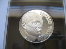MOSHE DAYAN , STERLING SILVER  ,COMMEMORATIVE MEDAL , JUDAICA ISRAEL COIN - $125.00