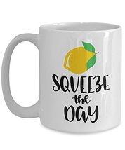 Squeeze The Day Motivational Coffee Mug - Inspirational Travel Ceramic C... - $14.95+