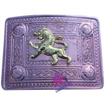 CC Scottish Kilt Belt Buckle Lion Rampant 4 Dome Mirror Design Copper An... - $12.89