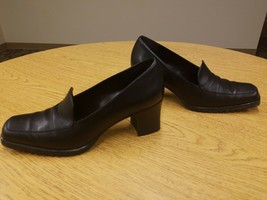Cole Haan Leather Loafer Heel 7 Black/Brown Womens Style Shoes - £19.14 GBP