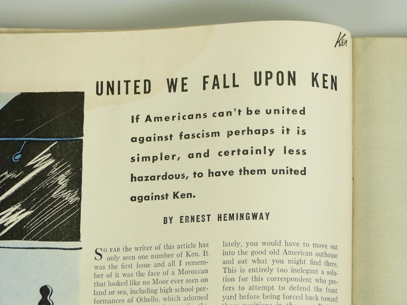 "Ernest Hemingway ""United We Fall Upon Ken"", in Ken Magazine Vol 1 No 5 June 2, 1"