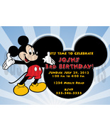 Personalized Mickey Mouse Birthday Invitation Digital File, You Print - $8.00