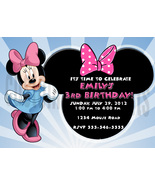 Personalized Minnie Mouse Birthday Invitation Digital File, You Print - $8.00