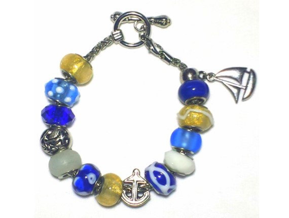 Primary image for Blue and Gold Sailboat Charm Bracelet