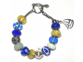 Blue and Gold Sailboat Charm Bracelet - £15.92 GBP