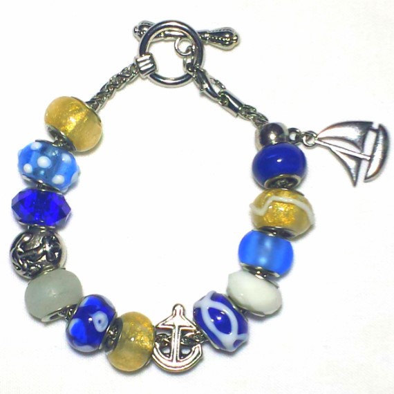 Blue and Gold Sailboat Charm Bracelet