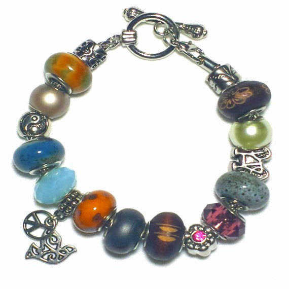 Peace and Love Neutral Color Charm Bracelet