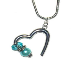 Open Heart Turquoise Charm Necklace - $10.00