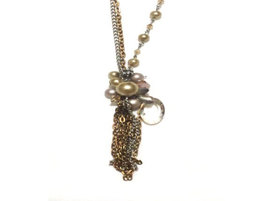 Silver Chain and Small Antique Gold Chain Cluster Necklace - $10.00