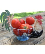 Country Farm Metal Rooster Chicken Vegetable Fruit Wire Basket Kitchen Storage - $8.50