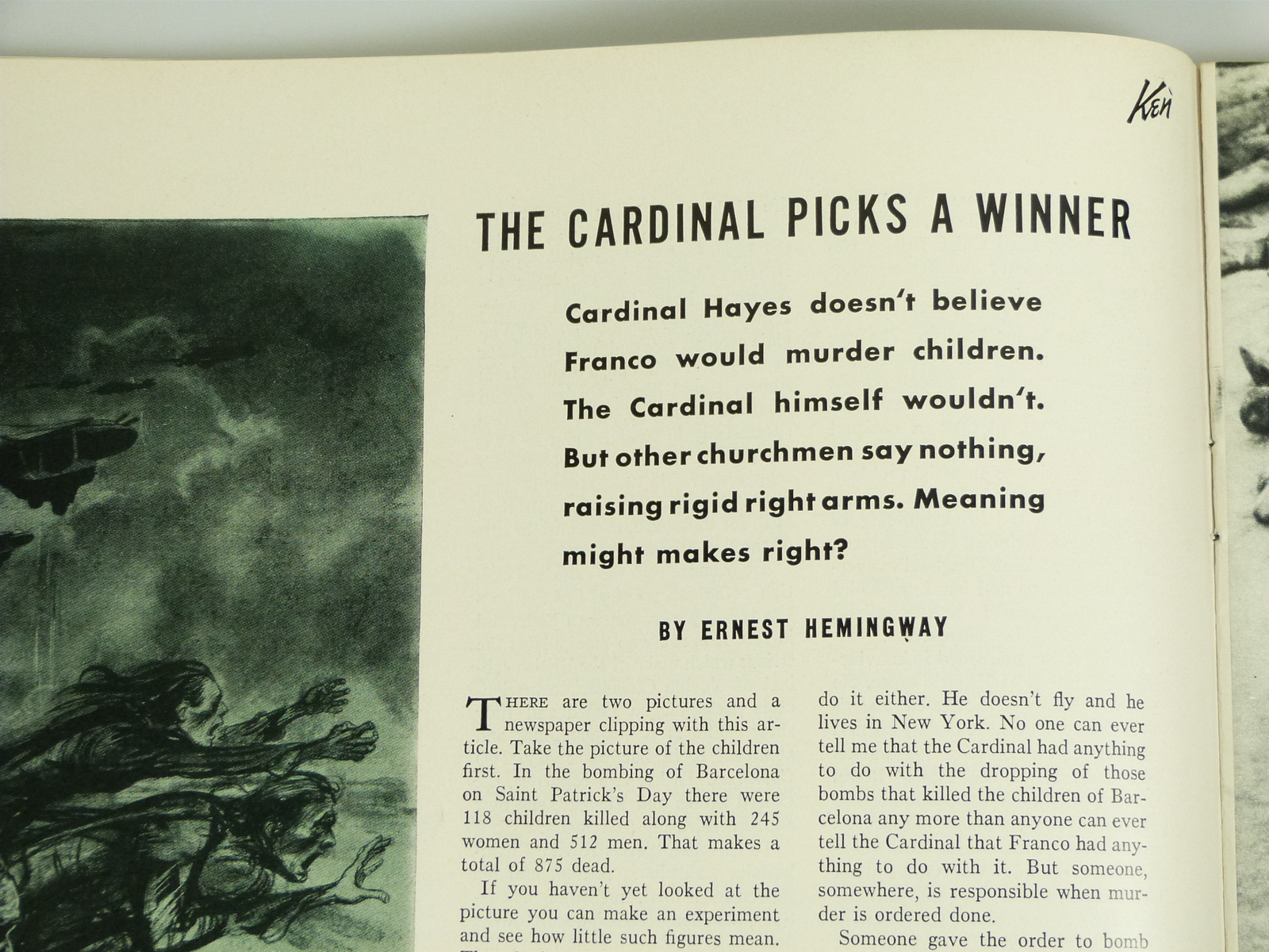 "Ernest Hemingway ""The Cardinal Picks A Winner"", in Ken Magazine Vol 1 No 3 May 5"