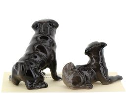 Hagen Renaker Dogs Pug Mama and Baby Black Ceramic Figurine image 7