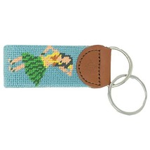 Islanders Hand-Stiched Needlepoint and Leather Key Fob for Keychains, Ha... - $22.99