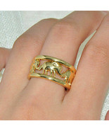 Gorgeous NEW Lucky Elephant Ring~Band 18 KT Yellow Gold Filled~Size 7~W/... - $24.99